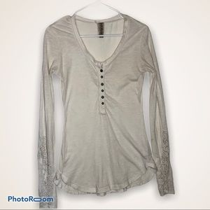 Free People Cream Vneck Button Henley, Small